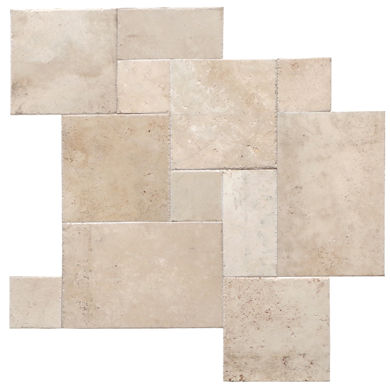 Tera Versailles Pattern Unfilled Honed Chiseled Edge Travertine Tile