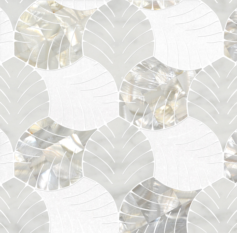 Foliage Mosaic Thassos White Mother Of Pearl Bianco