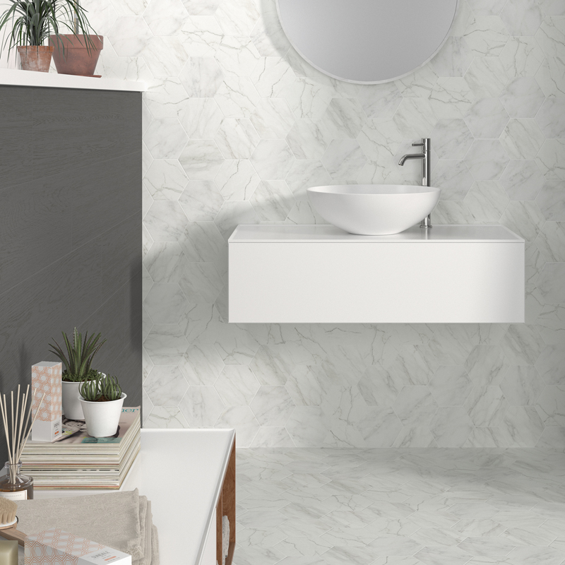 Verona Hexagon Porcelain Tile White Pera Tile