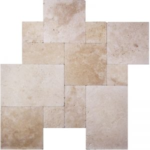 Ivory-Tumbled-VERSAILLES-Pattern-Travertine Pera Tile