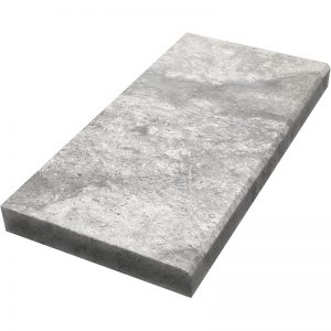 12×24 Silver Tumbled Travertine Modern Coping 5cm