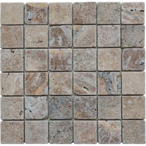 2×2 x3:8 Tumbled Travertine Mosaic