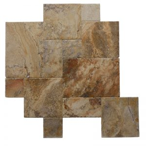 Brushed Chiseled Versailles Pattern Travertine Tile